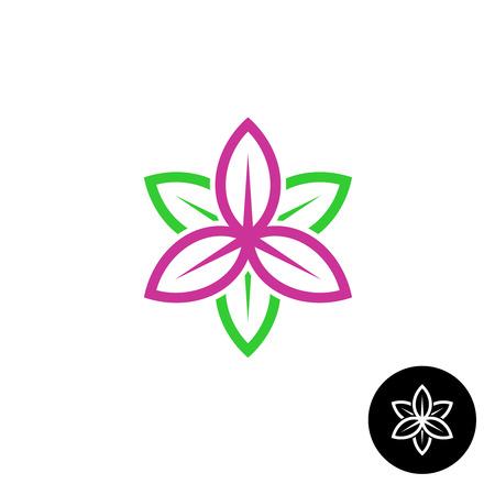 silhouette fleur: Couleur laisse icône fleur de style linéaire de forme