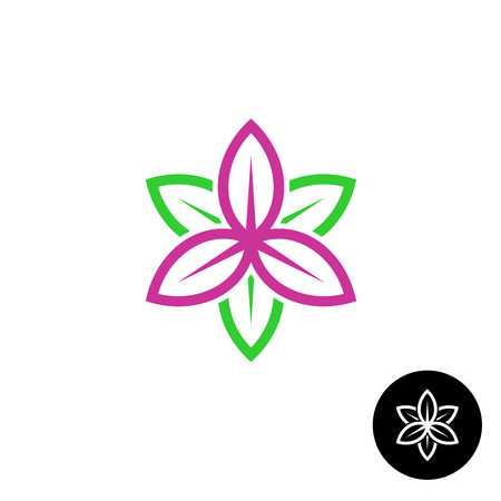 Color leaves flower shape linear style icon