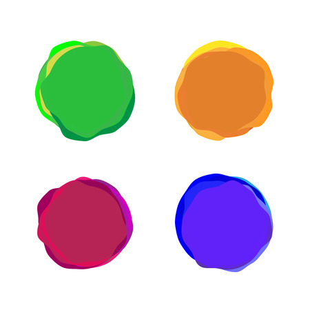 ink: Set of color vector paint blobs for banners or badges use Illustration