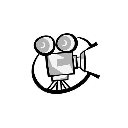 blockbuster: Retro cinema movie projector silhouette black icon