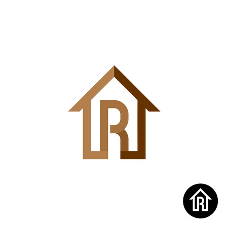 letter R: Letter R with house silhouette linear outline icon