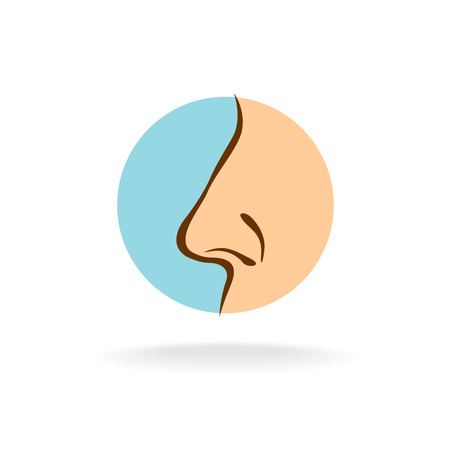 flat nose: Nose silhouette in a round color symbol