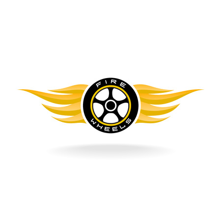 motorcycle wheel: Auto car whell with fire wings icon