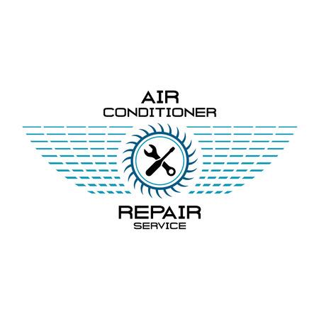 エアコン修理サービス チーム。レンチ、ドライバー付きのファンのシルエットとグリッド翼。  イラスト・ベクター素材