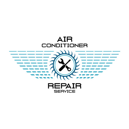 Air conditioner repair service team  . Wrench, screwdriver with fan silhouette and grid wings.