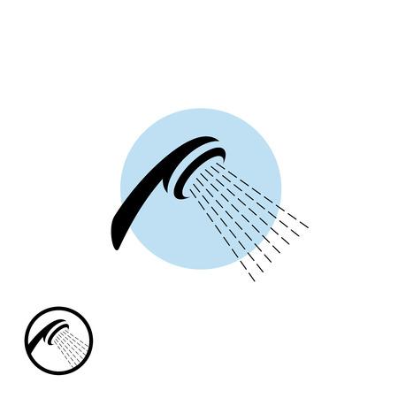 cabeza: Icono de la cabeza de ducha con flujo de agua
