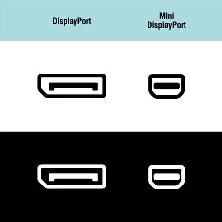 hdmi: DisplayPort and Mini DisplayPort icons