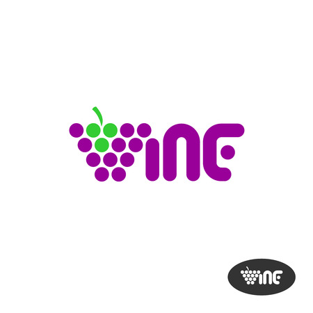 vines: Wine text icon with grape bunch
