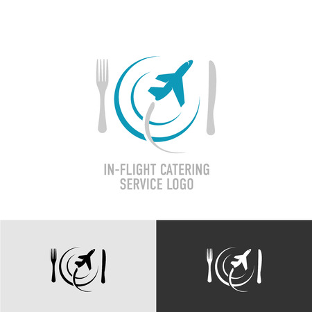 Catering food service with plate, fork, knife and plane silhouette icon template