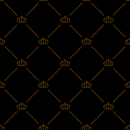 Luxury seamless pattern black background with golden crowns
