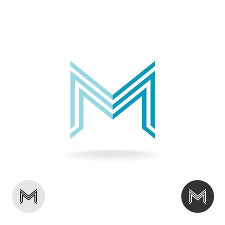 letras negras: Icono Carta estilo lineal dueño de M