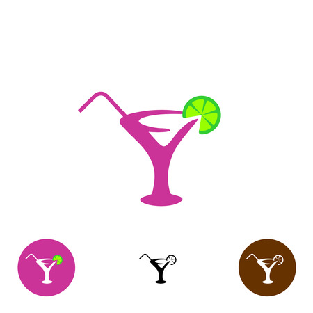 lime slice: Cocktail glass with straw and lime slice vector silhouette