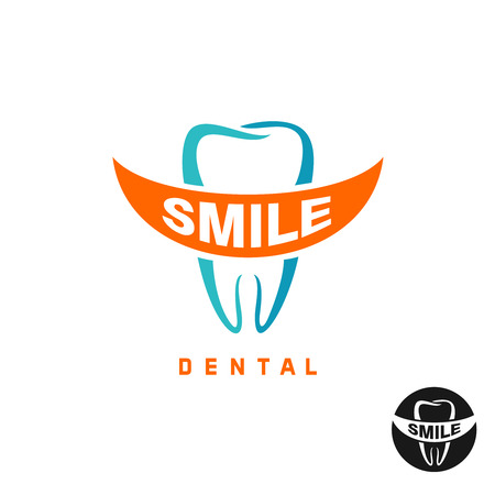 dental care: Molar tooth icon template with smile shaped text place