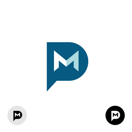mail: PM letters icon. Private message abbreviation with speech bubble and mail envelope shape.