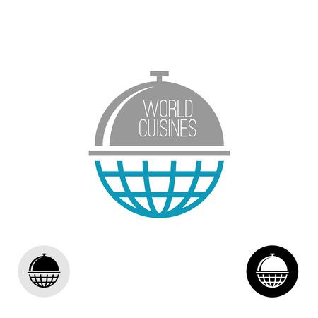 bola del mundo: Mundial icono concepto de alimentos. Planeta tierra con tapa de comida en la parte superior.
