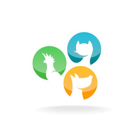Papegaai, kat en hond silhouetten in een ronde badges. Pet shop bewaren icoon.