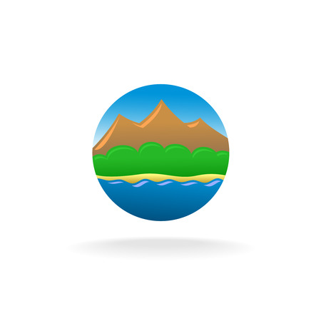 forestry: Travel touristic round icon with blue sky, mountains, green forestry, sandy beach and sea water.