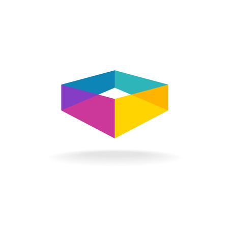3d transparent abstract colorful perspective box icon