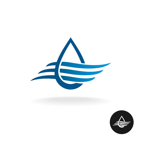 ocean wave: Water drop with waves elegant icon