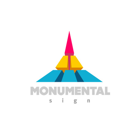 building monumental: Monumental icon. Colorful 3D building flat color style sign.