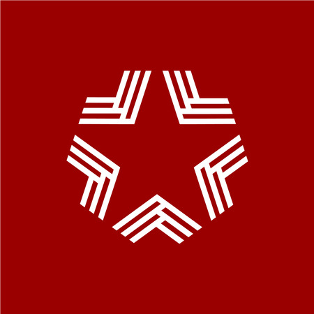 inverted: Military inverted star with chevrons icon template Illustration