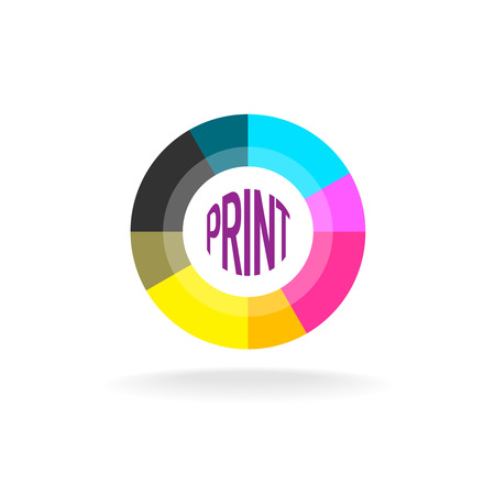 print shop: Print shop round icon template