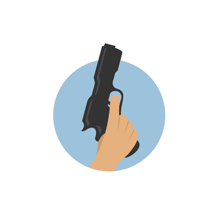 começando: Hand with starting pistol symbol