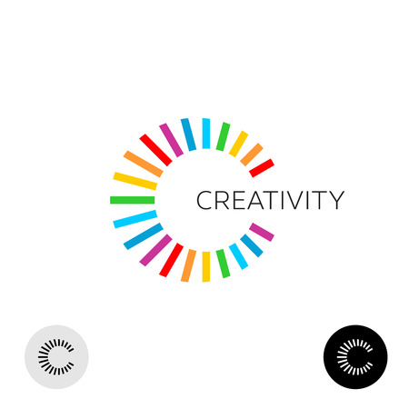 rainbow abstract: Letter C creative colorful logo template. Ray rainbow lines burst style.