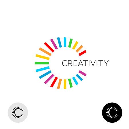 rainbow: Lettre C créative logo de modèle coloré. Lignes arc-en-Ray éclatent style.