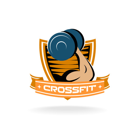 fitness logo: Strong muscle hand with dumbbell crossfit fitness center gym icon