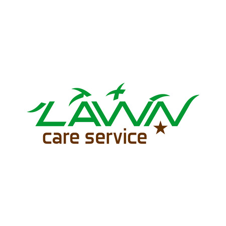 push mower: Lawn care service text icon
