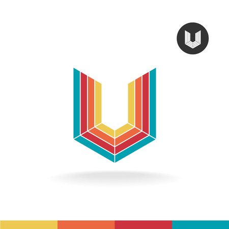 Letter U colorful ribbons icon. Industrial corner style. Vettoriali