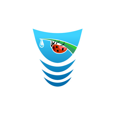 Fresh water icon concept with ladybug on a grass leaf tip