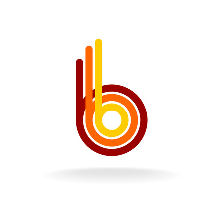 cocao: Letter B retro style icon. Color line ribbons style.
