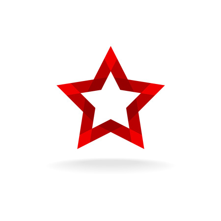 facet: Red star facet geometrical style ribbon shape icon Illustration