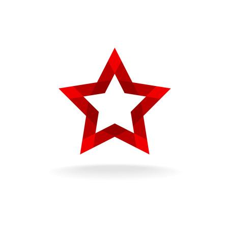 forme: Rouge facette étoiles forme d'un ruban de style géométrique icône