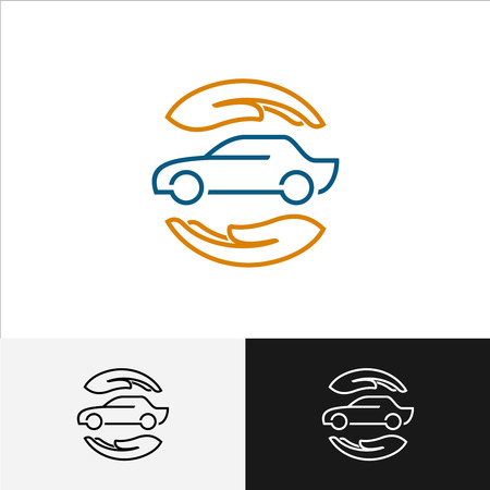 seguros: Icono de seguro de coche con el cuidado de las manos alrededor