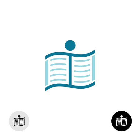 book pages: Running man silhouette with open book pages icon