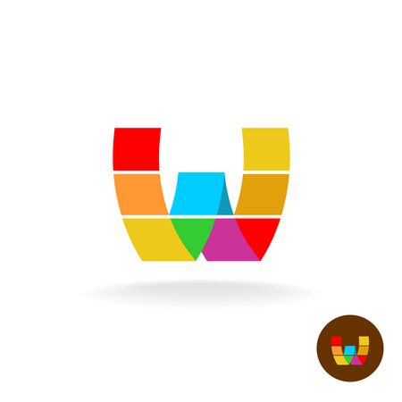 abstract shape: Letter W rainbow icon. Color particles style.