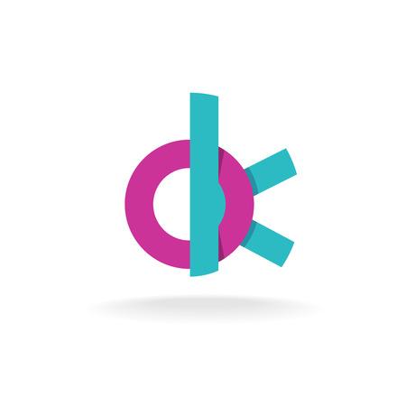 ok: OK letters flat style monogram icon Illustration