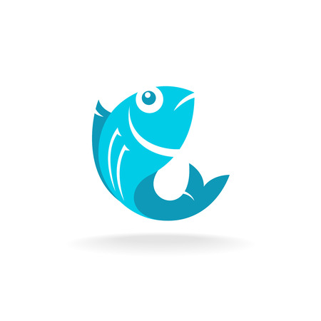 blue fish: Fish icon. Flat blue colors.