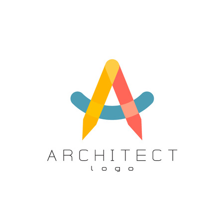 architect drawing: Architect theme colorful overlay letter a logo. Transparency are flattened.