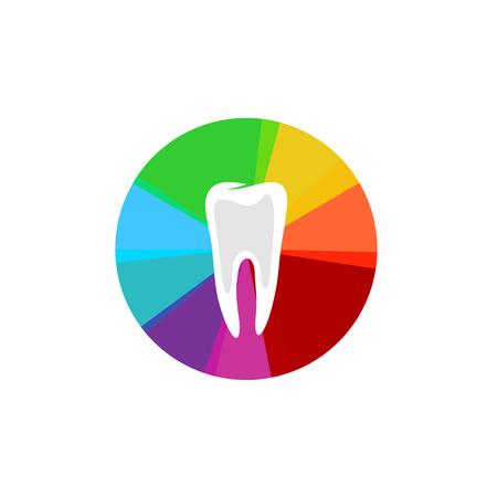 sectores: Diente con el arco iris colorido sectores signo