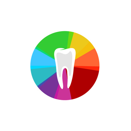 sectors: Tooth with rainbow colorful sectors sign Illustration