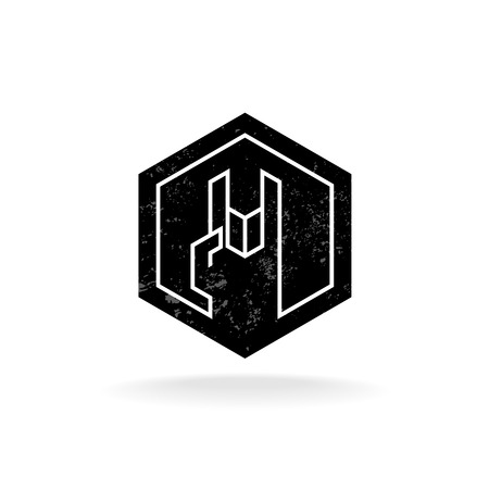 rock hand: Rock hand linear style hex geometric icon with grunge noise Illustration