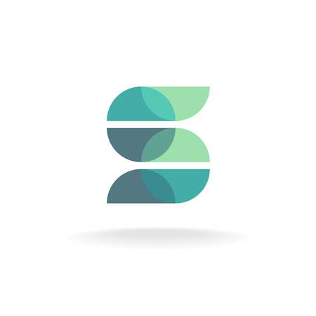 Letter S icon made of overlayed round particle elements. Transparency are flattened.
