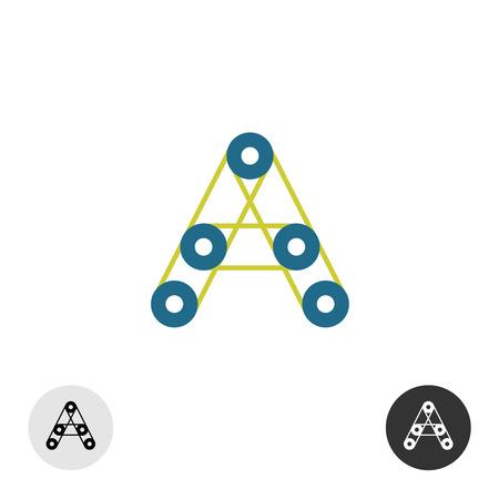poleas: Letra A icono de la industria con poleas redondas y conexiones de correa impulsada.