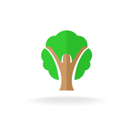 tree crown: Woman silhouette with hands up and tree crown. Flat style design icon. Illustration