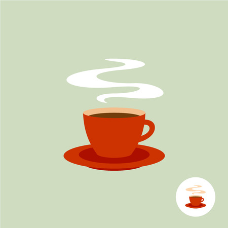 Red coffee cup with smoke flat style simple elegant icon Vettoriali