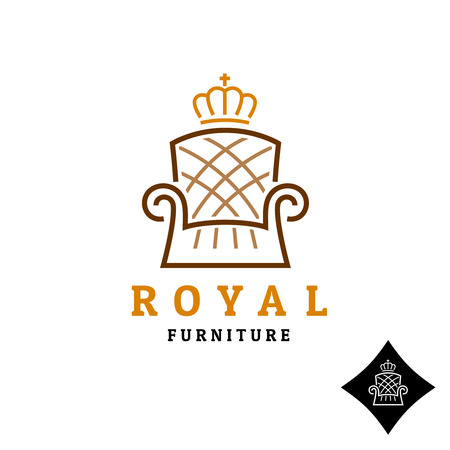 furniture shop: Linear style furniture icon with crown Illustration
